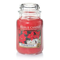 ☆☆POINSETTIA☆LARGE YANKEE CANDLE JAR 22 OUNCE ☆RARE CHRISTMAS SCENT- WHITE LABEL