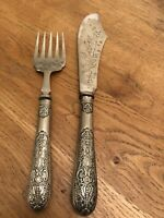 Antique Victorian Stamped A&D Etched Silver Plate Fish Servers