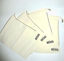 "Lot of 4 MELISSA Cotton Dust Bag/Drawstring Pouch for Shoes 10.5""x13"""