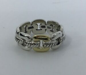 David Yurman SS 18K GOLD  Design Link Cable Chain Ring Size 6