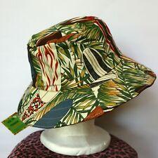 Teen / Mens Brown and Green Reversible Hat - surfboard, Hawaiian, tiki, surf