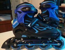 2pm Sports Boys Large 4-7 Adjustable Flashing Inline Skates Blue New in Box