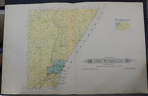 Wisconsin Ozaukee County Map 1915 Port Washington Township, Lake Michigan Q2#11