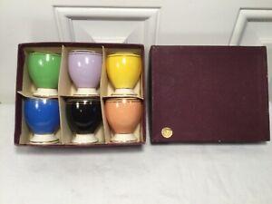 6 Harlequin Egg Cups in original box, Made in Romania