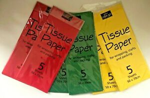 Brand New Tissue Paper for wrapping, crafts and packing. 2 x packs of 5 sheets (