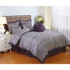 Queen Size Bedding 7-Piece Comforter Set Purple Shames Bed Skirt Bedroom New