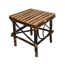Amish Rustic All Hickory Square Bentwood Slats End Table