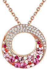 "Leafael ""Twin Moons"" Swarovski Crystal Pink Circle Rose Gold Pendant Necklace"
