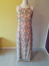 Peacock Dress summer holiday tie back strappy lined floral side slits size 14 UK