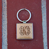 monogramed Wooden Key chain, Personalized key chain, gift idea, gift for him