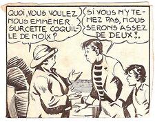 """Dessin original de Antoni CLAVÉ (1913-2005) pour  """"Bob et Fernand"""" 1942 Jumbo"""