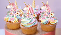 24 STAND UP MINI UNICORN GOLD HORN FLOWERS EDIBLE WAFER CUPCAKE IMAGES TOPPERS