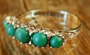 Antique 9ct Gold Turquoise Five Stone Ring Fully Hallmarked 1917
