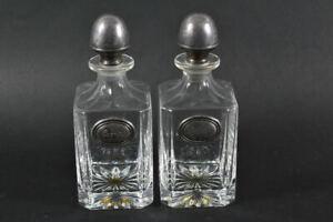 h22a53- 2x Glaskaraffe mit versilberter Montierung, Cognac & Whisky