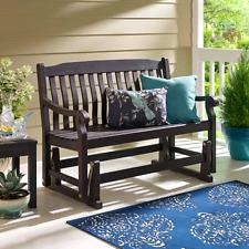 Dark Wood Glider Bench Garden Furniture Deck Outdoor Patio Porch 2 Seats Rocker