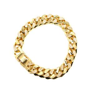 "Gold Plated Men's Cuban Link Tennis Bracelets 8"""