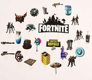 25PCS Fortnite Battle Royale Game Cake & Cupcake Toppers For Birthday Decoration