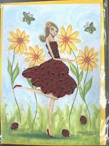 Papyrus Bella Pilar note card - Girl in Glitter Ladybug Dress + Felt Ladybug