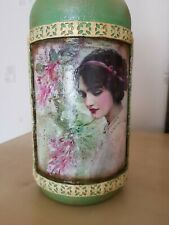 Shabby chic decoupage bottle, decorative bottle handmade, vintage