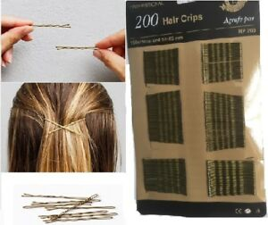 200 Pack Bobby Kirby Pins BROWN Hair Grip Grips Clips Clamps Salon Waved Slides