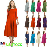 Women Ladies Long Sleeve Round Neck Skater Dress Casual Pleated Swing Midi Dress