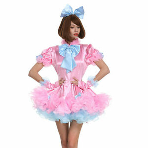 lockable Pink Sissy maid satin dress cosplay costume Tailor-made