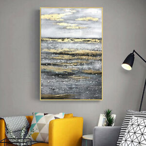 """LL646 Canvas abstract art gold foil oil painting Hand-painted Unframed 24""""x36"""""""