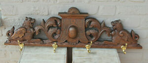 Antique French oak wood carved lions castle pediment coat rack wall