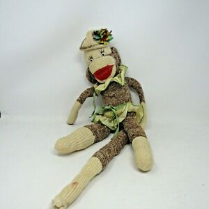 Vintage Sock Monkey in Hat and Apron hand made
