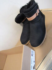 UGG AURELYN BLACK SUEDE CONTRAST TAN LEATHER STRAP SHERLING WOMEN'S BOOTS 8