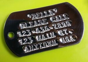MILITARY STYLE I.D. DOG TAG with CUSTOM DEBOSSED PRINT on Stainless Steel Blank