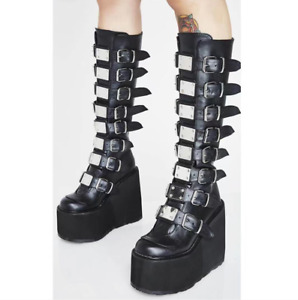 Women Knee High Boots Wedges Platform Fashion Thick Bottom Shoes Buckle Zip Goth