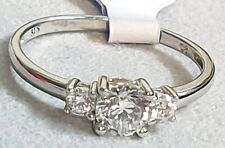 9CT WHITE GOLD CUBIC ZIRCONIA TRILOGY STONE RING SIZES AVAILABLE O,P
