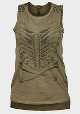 NEW LADIES  STUDDED SKELETON RIB BONE TOP  GRUNGE/ PUNK SIZE 10