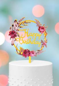 Happy Birthday Blumen Torten Stecker Cake Topper Geburtstag Kuchen Deko Gold
