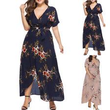 Lady Summer Boho Casual Maxi Dress Short Sleeve Floral Print Sundress Plus Size