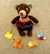 Ebulobo Bear Baby Sensory Toy Teether Rattle Squeaker - Like Skip Hop Montessori