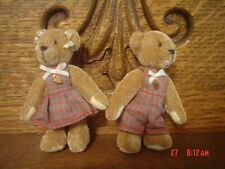"""Quality Miniature 3"""" Tall Girl And Boy Teddy Bear Set Jointed And Signed Lk?"""