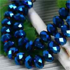 198pcs Dark Blue crystal Faceted Loose Beads 4x6mm