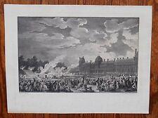 Gravure XVIIIème - Les Invalides - Proclamation de la république - 1794/95