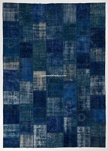 Blue Color Custom PATCHWORK Rug, HANDMADE from OVERDYED Vintage Turkish Carpets