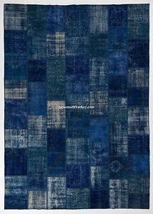 Blue Color Custom PATCHWORK Rug, HANDMADE from OVERDYED Vintage Turkish Carpets