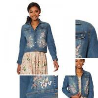 nWT LaBellum by Hillary Scott Womens Scott Button Front Denim Jacket. 637208