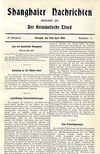 Shanghaier Nachrichten Titelblatt Nr:16 von 1908 Freiwilligenkorps Tennisclub...
