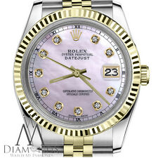 Men's Rolex 36mm Datejust 2 Tone Pink Mother Of Pearl Dial with Diamond Accent