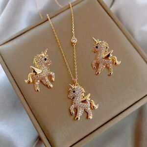 2021 Gold Crystal Horse Necklace Stud Earrings Set Charm Women Party Jewelry New