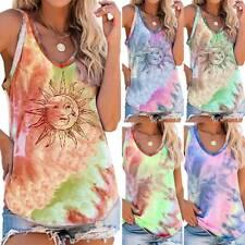 Women's Tie Dye Tank Tops Sleeveless Vest Blouse Summer Casual T-shirt Cami Tops