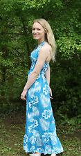 Ladies Large Maxi Dress Ocean Club Halter Neck Sequin Detail Blue Floral