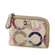 NWT Coach Madison Op Art Mini L Zip Coin Wallet in Violet Multi #48929