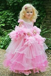 GIRLS FANCY DRESS FRILLY MILLY COSTUME AGE 6-8 YEARS PINK & FEATHER BOA